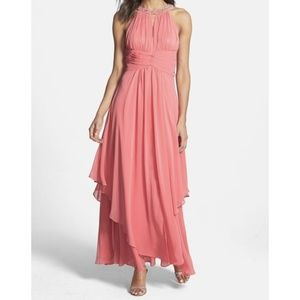 Eliza J Embellished Halter Tiered Chiffon Gown 8